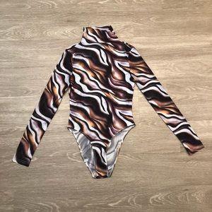 SheIn Multicolored Swirl Mesh Bodysuit
